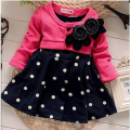BibiCola New Fashion Spring Autumn Baby girl dresses Kids Children Clothes Splicing Polka Dots Dress Girls Party Dress