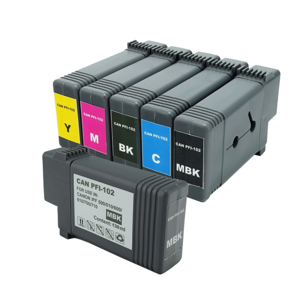 6 x 130ml PFI-102 Ink Cartridge Replacement(1BK +2MBK +1M +1C +Y) pfi102 for Canon iPF500 iPF510 iPF600 iPF610 iPF700 iPF710 pfi 102 130ml 5 pack compatible ink cartridge for imageprograf ipf605 ipf610 ipf700 ipf710 ipf720 printers