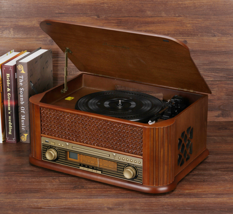 HiFi Record Player Retro LP Vinyl Turntable Stereo System, FM Radio, CD, Cassette Tape, USB for MP3, Vinyl-to-MP3 Recording plywood
