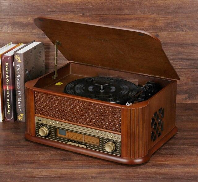 HiFi Record Player Retro LP Vinyl Turntable Stereo System FM Radio CD Cassette