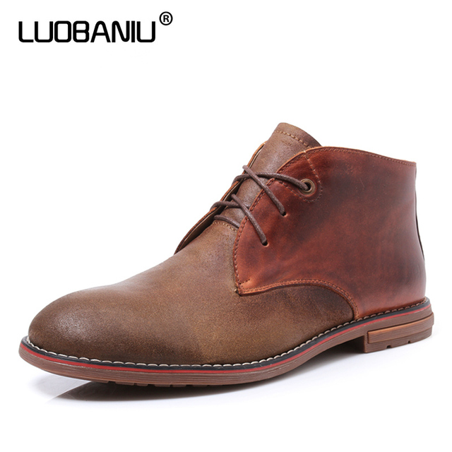 LUOBANIU Brand 2017 Men Boots Size 38-45 Warm Leather Lace-up Men Shoes Casual Fashion Ankle Boots Autumn Winter Boots Plus Size