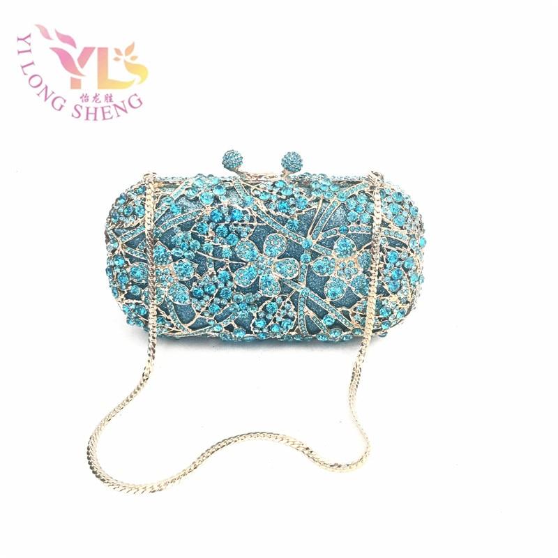 Blue Women Chain Clutch Bags Ladies Luxury Rhinestone Crystal Evening Party Wedding Clutches YLS-F68 rhinestone applique heart pattern crystal clutch evening party bags
