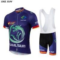 2016 SAIL SUN Men Purple Bike Jersey Bib Shorts Sets Team Cycling Jersey Top MTB Pro
