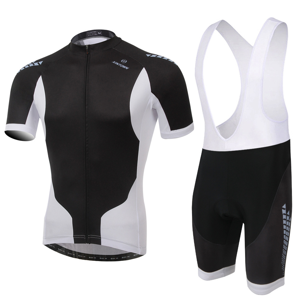 Cycling Set Men Summer Short Sleeve and Bib Shotrs Black White Cool Anti-sweat Bicycle Set Road MTB Bike Jersey Shorts Ciclismo rusuoo k01007 bicycle cycling jersey bib shorts set white black size xl 175 180cm
