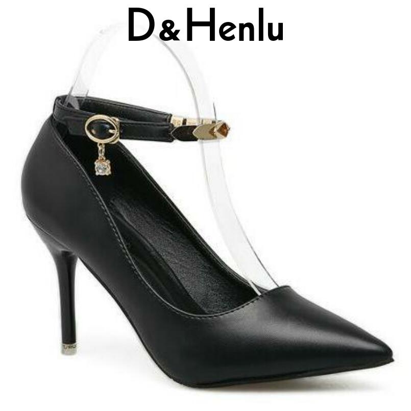 D&Henlu Big Size Heels Women Shoes Med Heel Ankle Strap Heels Sexy High Heel Shoes Size 43 Pointed Toe Pumps Shoes Small Size 33 black square heel pointed toe hollow shoes women buckle strap fashion ankle strap high heels pumps white summer plus size ladies