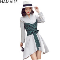 HAMALIELTwo False Pieces Long Shirt Dress 2017 Fashion Autumn Women White Patchwork Green Tie Bow Casual