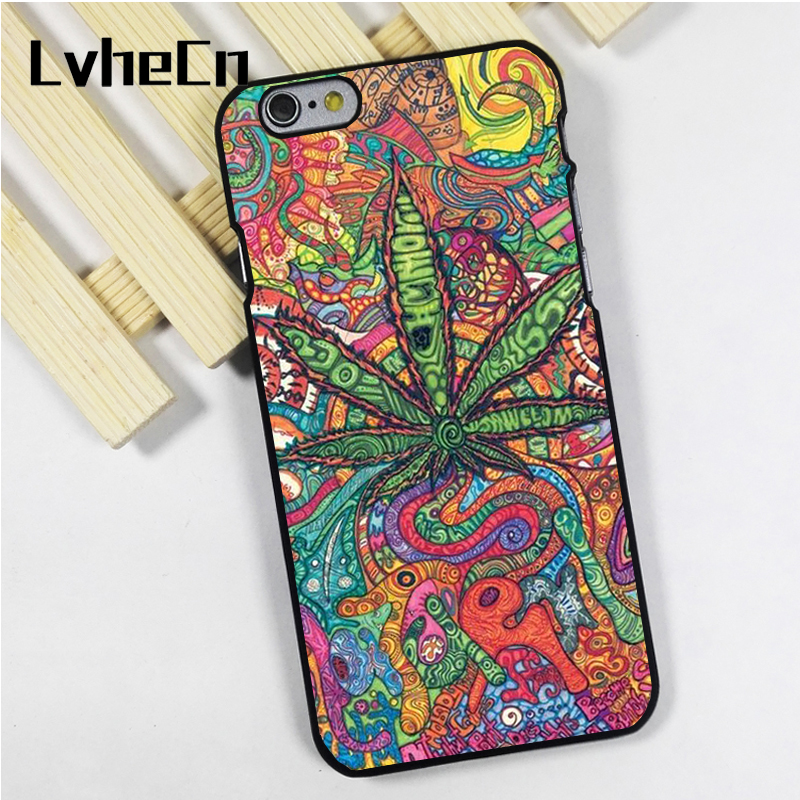 LvheCn phone case cover fit for iPhone 4 4s 5 5s 5c SE 6 6s 7 8 plus X ipod touch 4 5 6 Abstractionism Art high weed