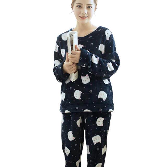 placeholder Women s Ladies Cotton Flannel Pyjama PJ Set animals cat bird  print Sleepwear New Long Pyjama 45ec2aeadd