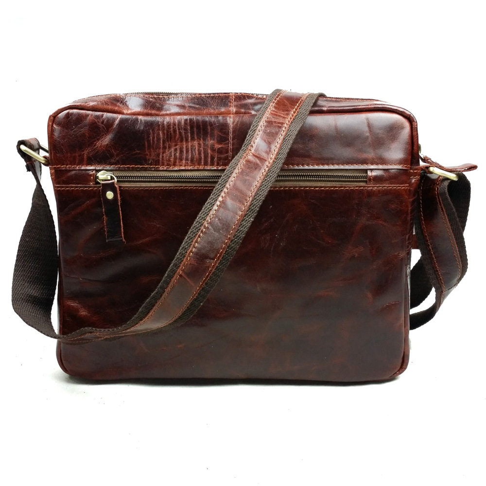 fashion New Brand Trend Oil Wax Genuine Leather Men One Shoulder Bag Leisure Zipper Travel Messenger Sling Bags 2017 new trend fashion retro oil wax genuine leather men chest pack sling shoulder bag casual travel zipper bags vintage