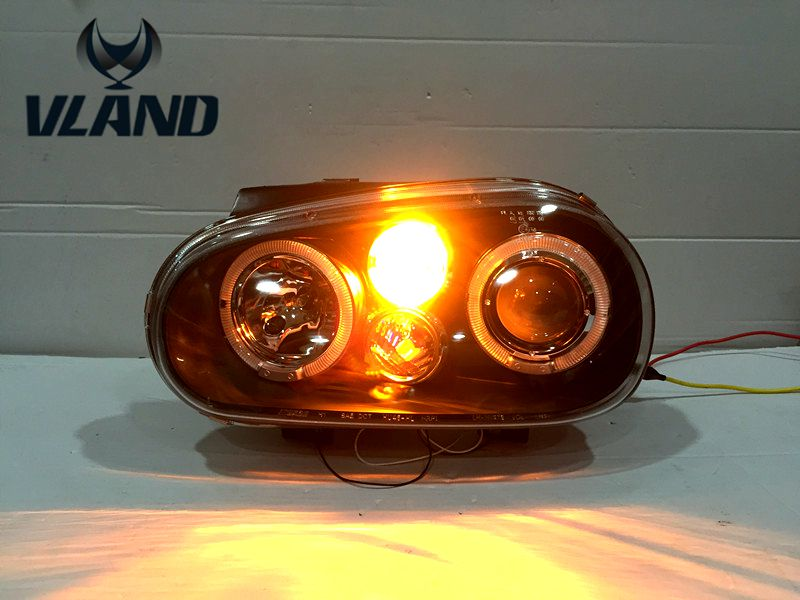 Free Shipping VLAND Car Head Lamp for VW Golf 4  1998-2002 Headlight LED Angle Eyes Plug and Play free shipping vland factory car parts for camry led taillight 2006 2007 2008 2011 plug and play car led taill lights