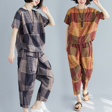 цена на #0816 Front Pockets Harem Pants And Short Sleeve T Shirt Women Two Piece Set Tops And Pants Ladies Striped Printed Loose Casual