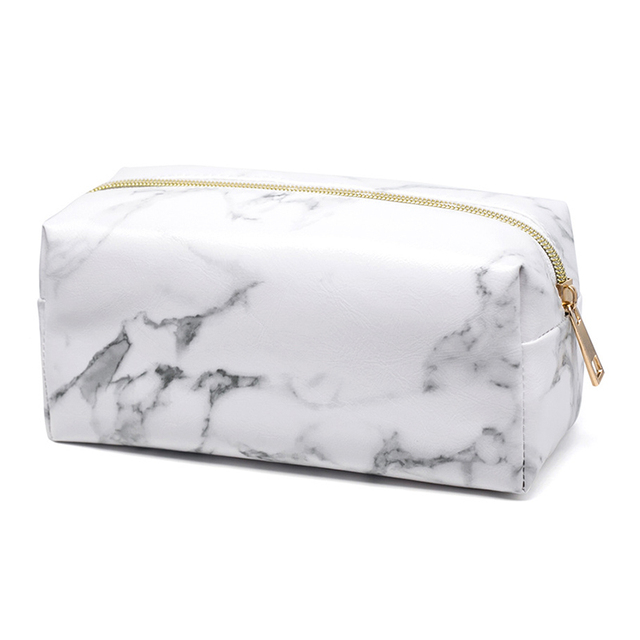 Marble Color Travel Empty Makeup Brush Bag Storage PU Leather Travel Cosmetic Brushes Holder Organizer Make Up Tools