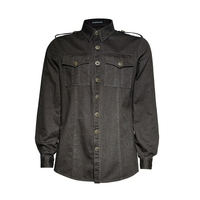 Punk Men Black Shirts With Pockets Gothic Single Breasted Blouses Long Sleeve Blouses Male Black&Grey Casual Shirts
