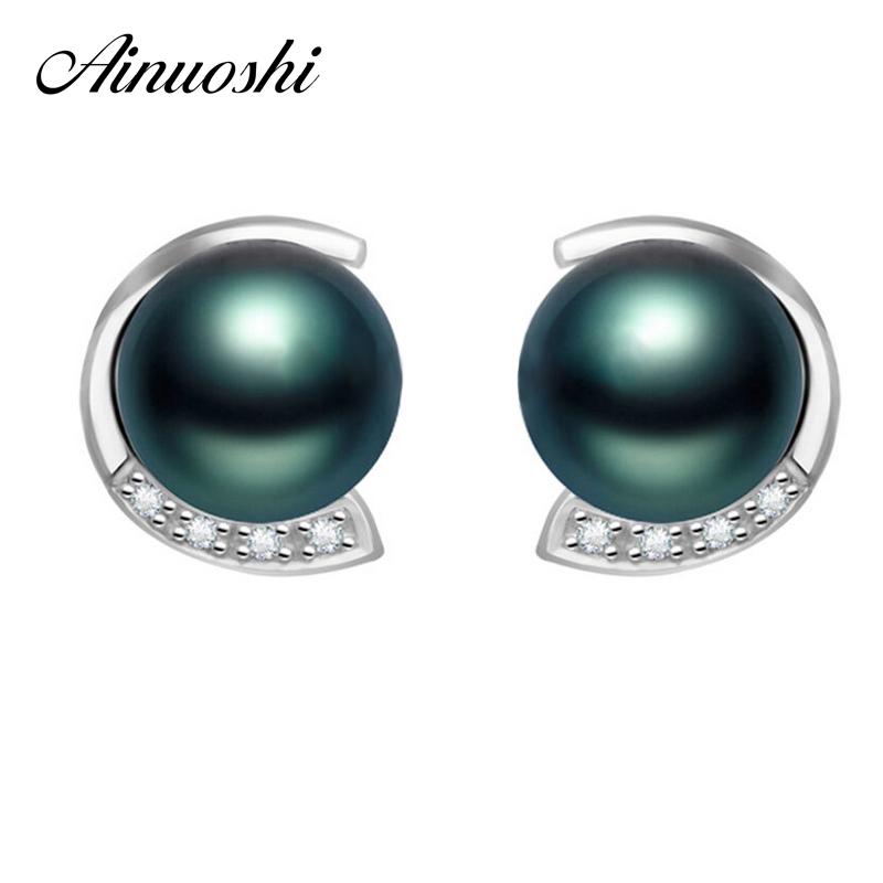 AINUOSHI Luxury 9mm Natural South Sea Black Tahiti Pearl Earring Women Round Pearl Earring Engagement Anniversary Silver JewelryAINUOSHI Luxury 9mm Natural South Sea Black Tahiti Pearl Earring Women Round Pearl Earring Engagement Anniversary Silver Jewelry