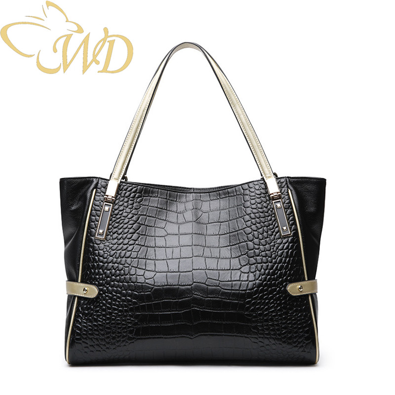 2019 new leather handbags ladies shoulder bag crocodile pattern leather handbag simple Mummy bag Shopping bag Tote bag handbag