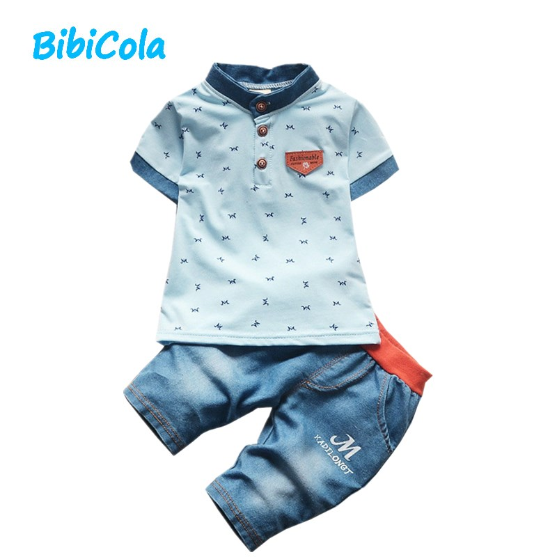 Bibicola Baby Boy Clothes 2017 Newborn Baby Boys Clothes Set Toddler Children 2pcs Fashion Style Boys Summer Sets top +pants
