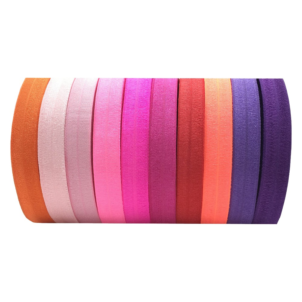 10 Yards/lot Solid Fold Over Elastic 5/8