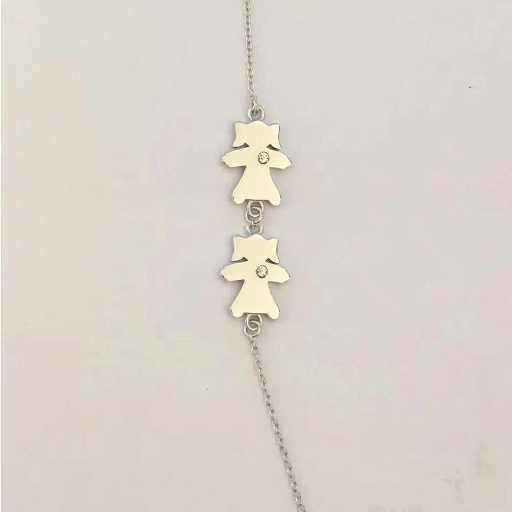 Новый однотонный 100% Серебряный чистый 925 плоский Детский браслет с фигурками для мальчиков и девочек Прозрачный кристаллический камень подарок для женщин и мам 2019