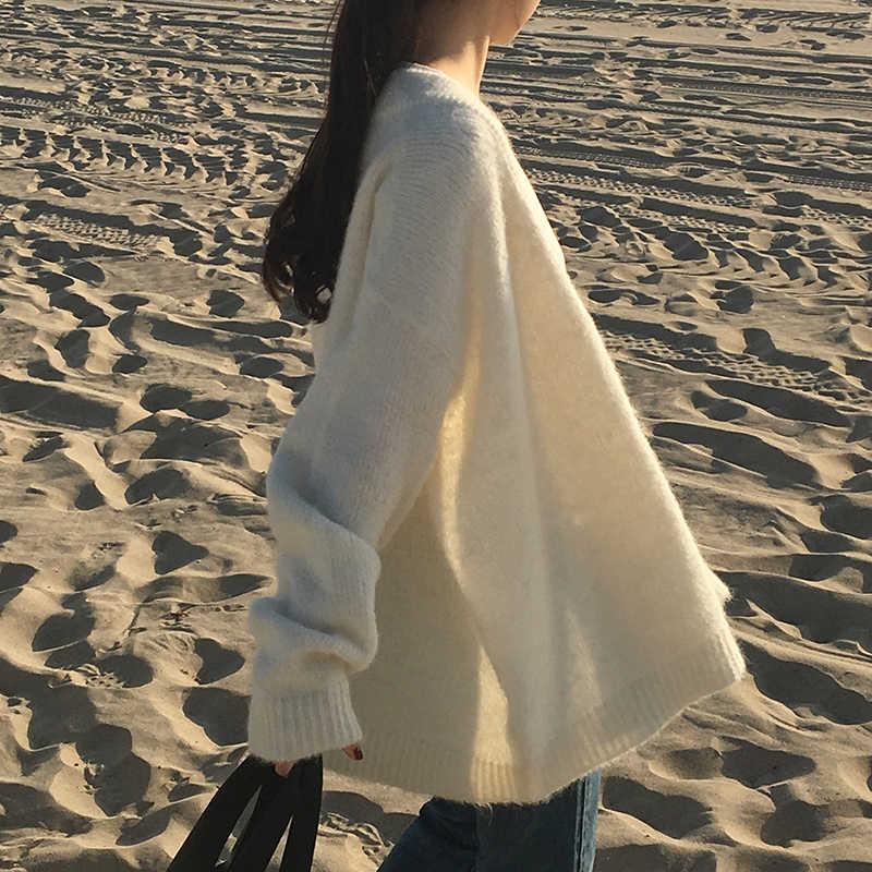 Свитер Вязание кардиган Для женщин Осень Корейская версия, с v-образной горловиной, свободного покроя, ленивый шикарное ожерелье с натуральным жемчугом, однобортное пальто серого, белого цвета, Для женщин закрытия Z97