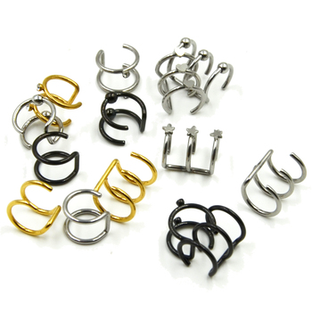 Stainless Steel Double and Triple Hoop Ear Cuff Clip On Earring 3
