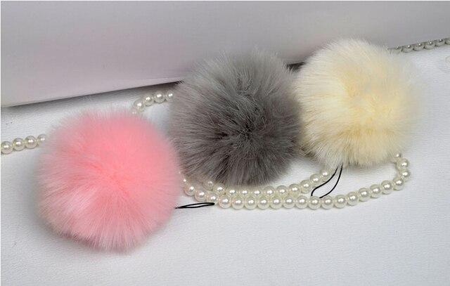 100pcs lot pink DIY faux fur balls fake fur pompoms 8cm for beanies hats  iphone key bags cap artifical fur pom poms wholesale 97fa7a3753e