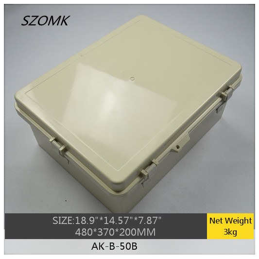 2 pcs, plastic IP65 electrical waterproof junction box 480*370*200mm szomk new plastic box electronics outlet enclosure2 pcs, plastic IP65 electrical waterproof junction box 480*370*200mm szomk new plastic box electronics outlet enclosure