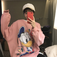 2019 Spring autumn Loose Donald Duck cartoon print Cotton Sweater Women Round neck Long sleeve Pullover Female aa1065