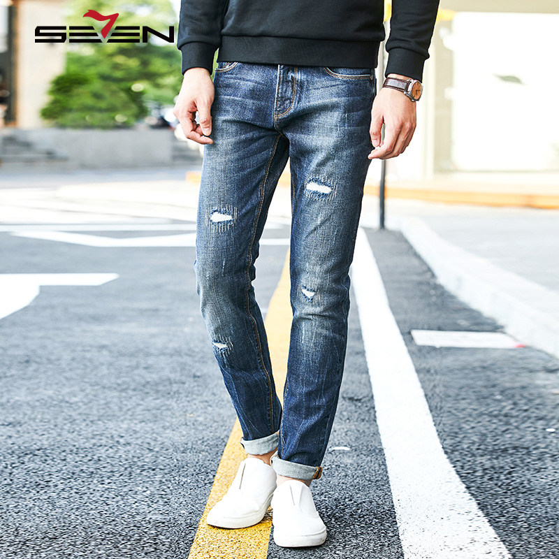 Seven7 Hip Hop Mens Skinny Jeans Distressed Ripped Jeans For Men Biker Slim Denim Overalls Male Stretch Pants Trousers 113S88130 2017 men s slim jeans pants hip hop men jeans masculina black denim distressed brand biker skinny rock ripped jeans homme 29 40