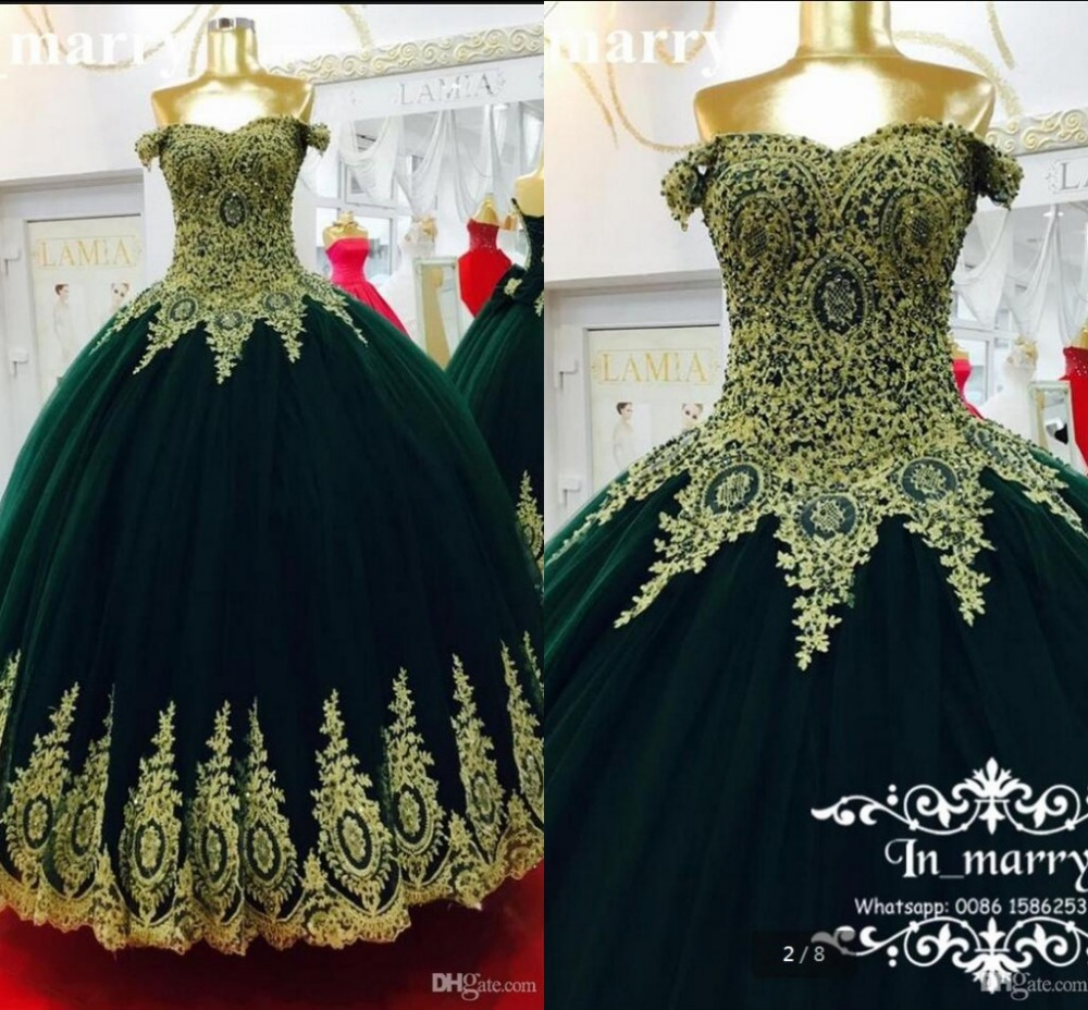 2017 Real Picture Emerald Green Arabic Ball Gown Prom