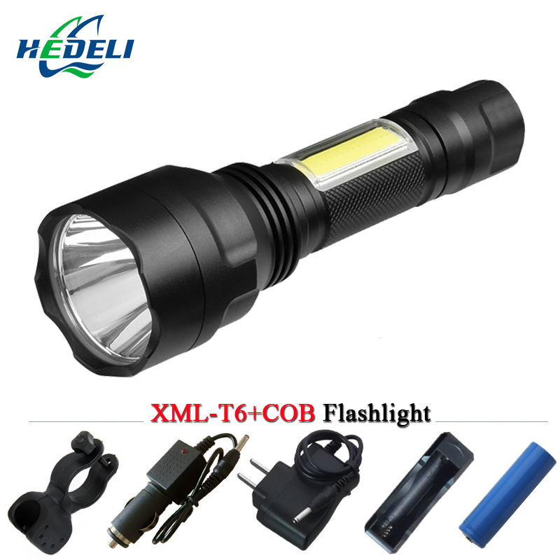 tactical led flashlight portable light cob cree xml t6 xm l2 torch for bicycle Camping lights penlight flash light 18650 battery