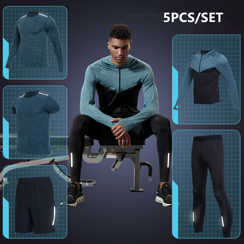 New Quick Dry Men Running Sets 5PCS Reflective Compression Sports Suits Basketball Tights Clothes Gym Fitness Jogging Sportswear