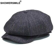 SHOWERSMILE брендовая клетчатая кепка Newsboy, Мужская винтажная шерстяная восьмиугольная кепка, Мужская теплая зимняя шапка для художника, серая кепка в британском стиле, s и головные уборы