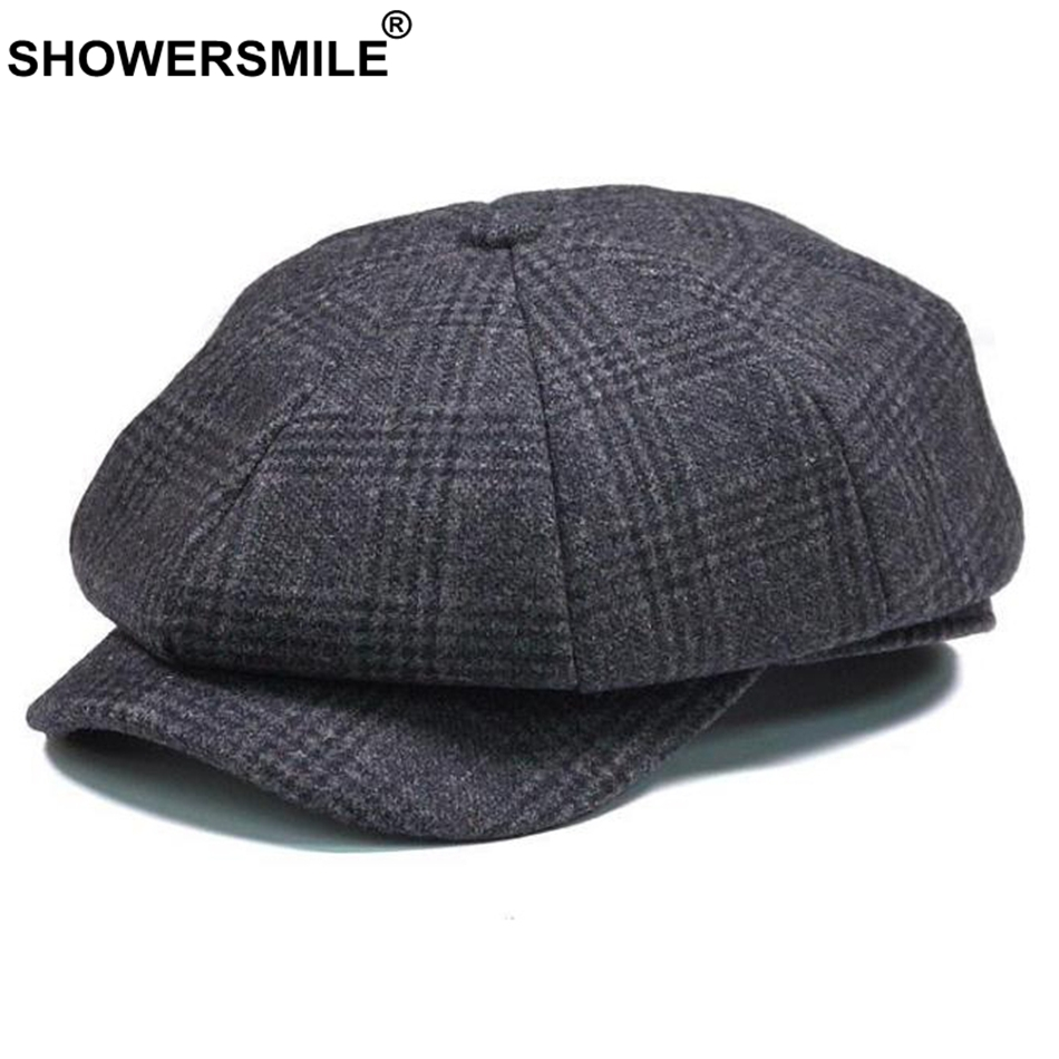 SHOWERSMILE Brand Plaid Newsboy Cap Men Vintage Wool Octagonal Cap Male Warm Winter Painter Hat Grey British Style Caps And Hats