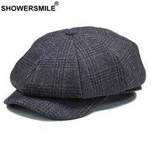 0a8366756 SHOWERSMILE marca cuadros vendedor gorra para hombres de lana Vintage tapa  octogonal hombre de invierno cálido pintor sombrero g.