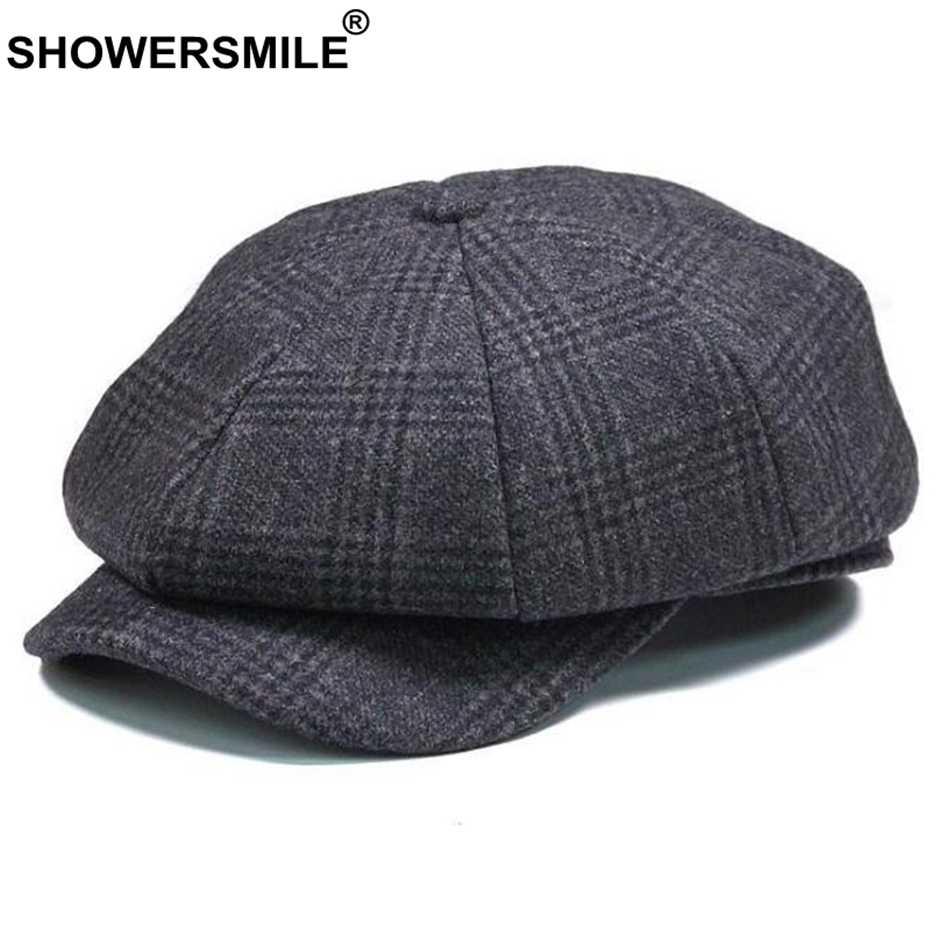 c6d4cb5754 SHOWERSMILE Brand Plaid Newsboy Cap Men Vintage Wool Octagonal Cap Male  Warm Winter Painter Hat Grey