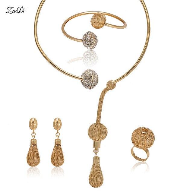 022c569870f5 Zuodi nupcial oro dubai-colorido marca Juegos de joyería mujeres cliente  nigeriano boda moda Africana Cuentas joyería al por mayor