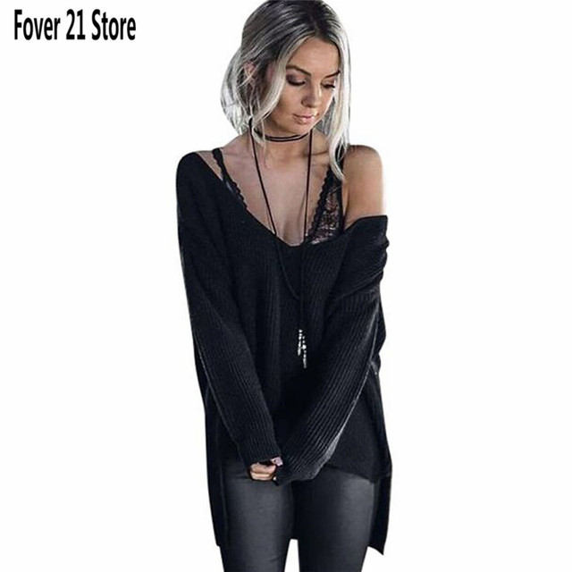 New Arrival Womens Off Shoulder Long Sleeve Loose Knitted Sweater Casual Jumper Tops Free Shipping Wholesale