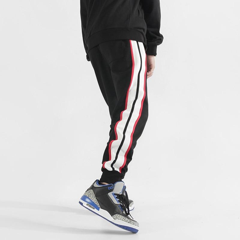 Fashion Streetwear Men Sweatpants Loose Fit Side Stripe Spliced Designer Casual Joggers Pants Men Slack Bottom Hip Hop Pants(China)