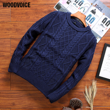 Woodvoice 2018 Brand Clothing Hot Casual Sweaters Men's Plain Round Neck Slim Fit Elastic Knitting Pullover Black/ Red/ Blue