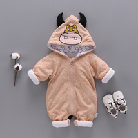 Newborn Plus Cotton Gary Baby Fashion Outfit Long Sleeve Baby Clothes Thick Cartoon Cow Baby Crawling