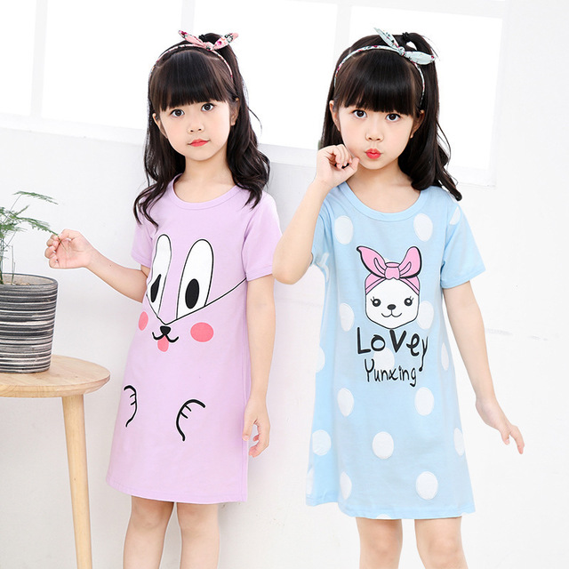 2020 <font><b>Girls</b></font> brand Princess party <font><b>Dress</b></font> fashion Nightdress printed Pyjamas <font><b>T</b></font> <font><b>shirt</b></font> Elastic short sleeve Cotton baby kids clothing image