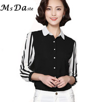 2016 Women Chiffon Blouses Shirts Workwear Striped Office Shirt Woman Tops Tunic Blusa Feminina Camisa Femme