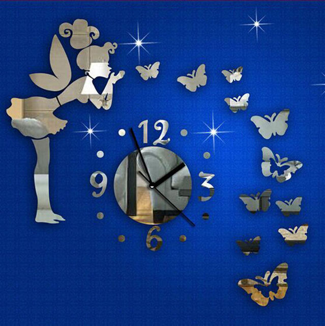 New Modern Home Decor Wall Number Clock Decal Butterfly Angel Vinyl Mirror  Art Sticker