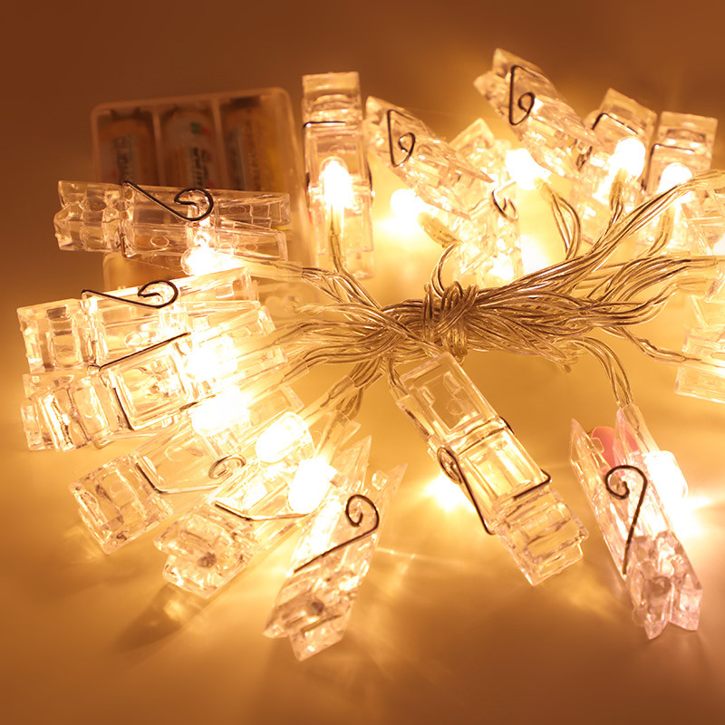 Novelty LED String Holiday lighting Indoor Photo clip Luminaria Festival Lights Christmas Decoration For Home Wedding lamps