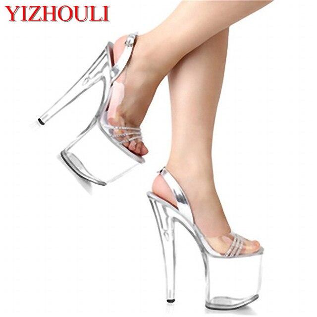 5dd75fa04177 Newest Rhinestone Sexy 20cm Super High Heel Platforms Pole Dance Crystal  shoes clear fisherman sandals club heels