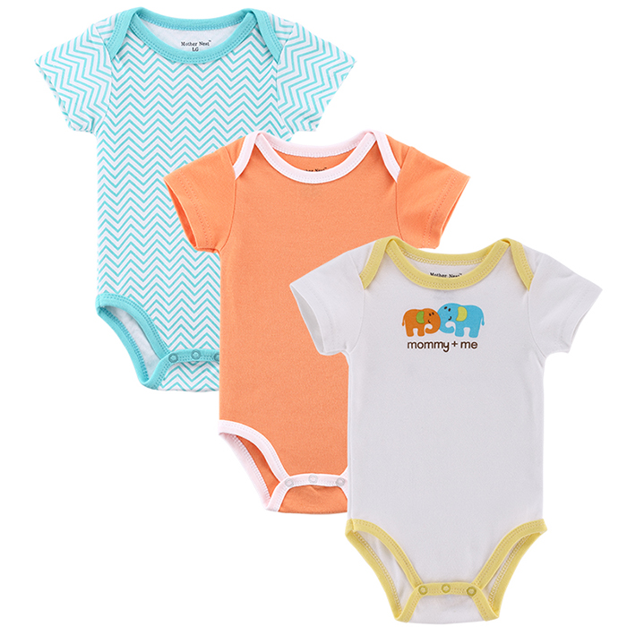 Mother nest 3pcslot Baby Boy Girl Clothes Short Sleeve Leopard Print 2017 Summer Baby Romper Newborn Next Jumpsuits & Rompers (7)