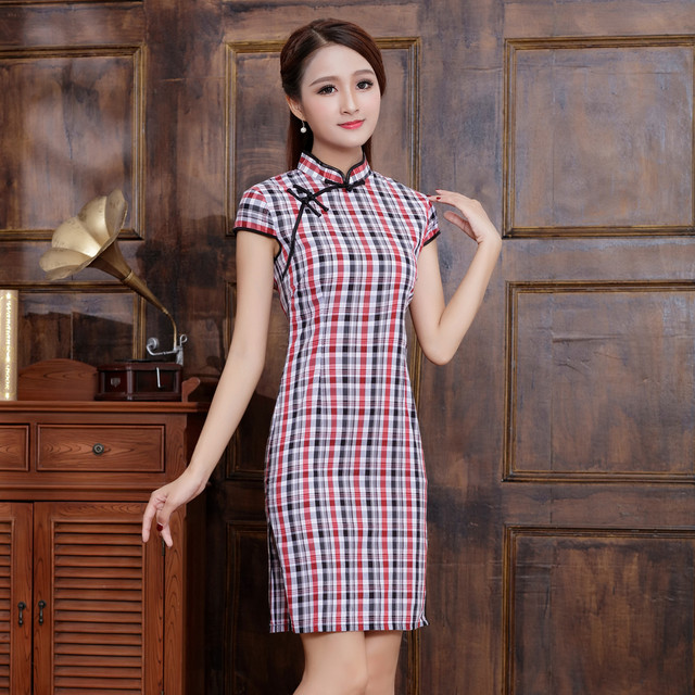 Chinese Style Women Vintage Cheongsam Elegant Short Sleeve Cotton Qipao  Plaid Vestidos Novelty Asian Female Casual Dress 744c14b2c633