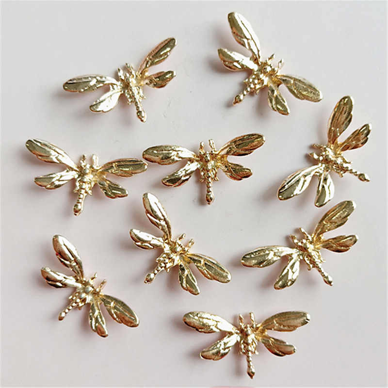 SEA MEW 20 PCS 14*26mm Metal Zinc Alloy Gold Dragonfly Connector For Jewelry Making