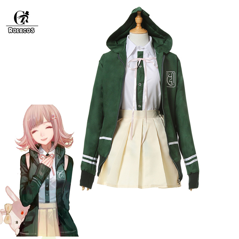 ROLECOS Nanami ChiaKi Cosplay Costume Danganronpa 3 Anime Cosplay Costume Game Full Set ( Jacket+ Shirt + Skirt ) Customer Size