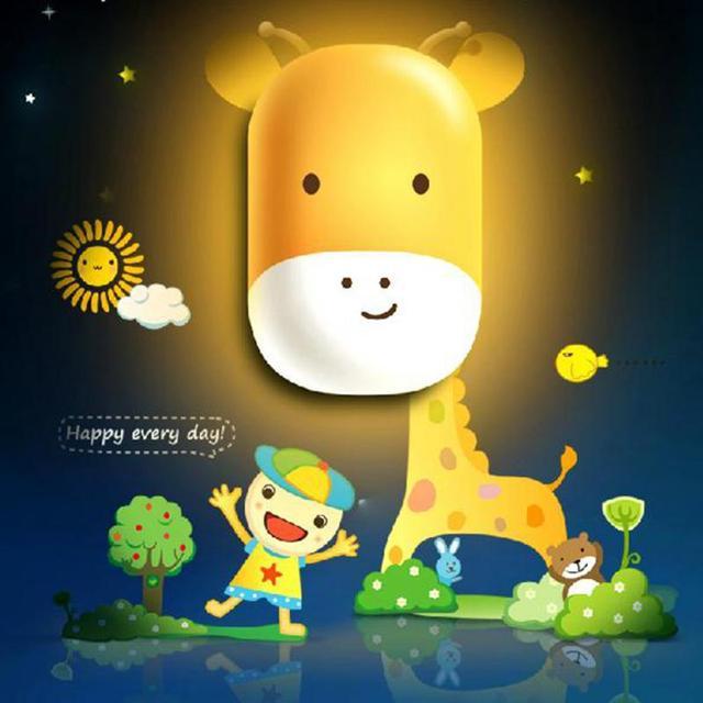 Romantic Cute Animal Night Light Lamp Colorful Sensor LED Home Decor for  Children Bedroom Decoration